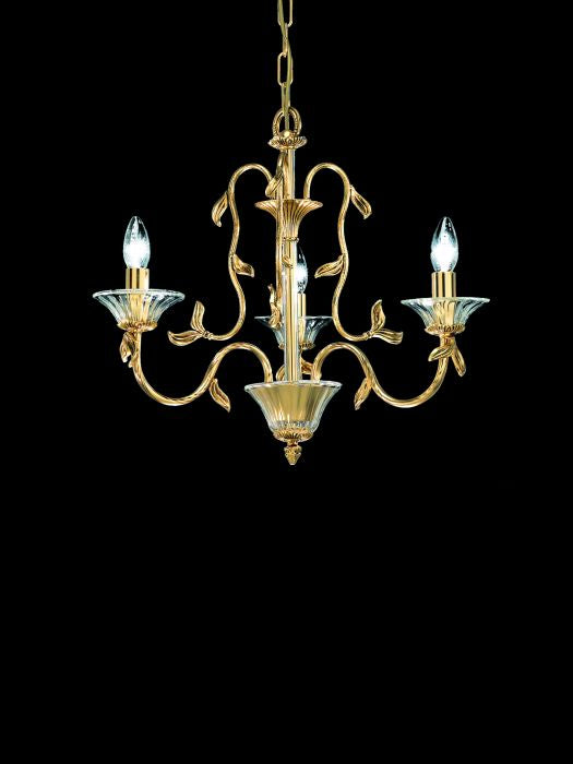 24 carat gold and brass chandelier with Murano glass bobeches