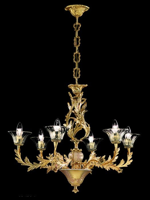 Classic brass and gold chandelier in the style of Louis XV