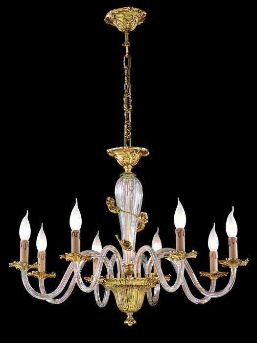 Elegant gold-plated chandelier with clear Murano glass arms