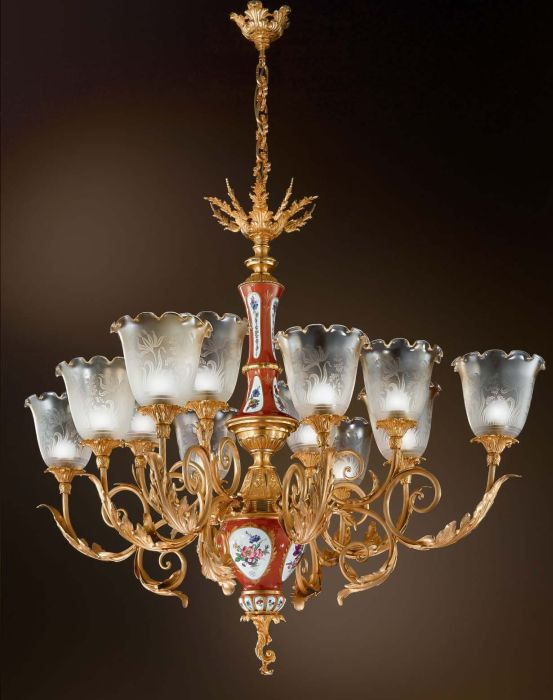 Pretty hand-painted porcelain chandelier with 24 carat gold