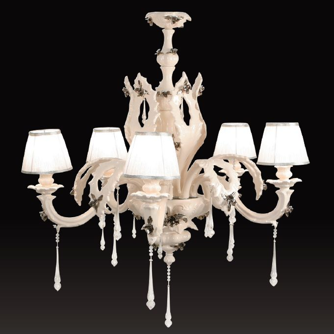 Italian 5 light ceramic chandelier with Swarovski crystals
