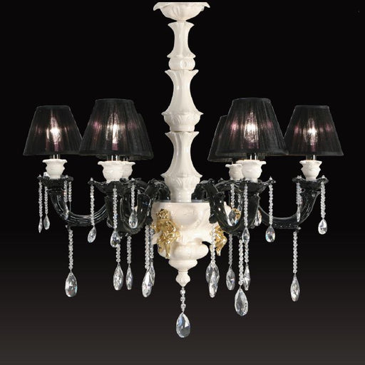 Italian ceramic chandelier with gold angels