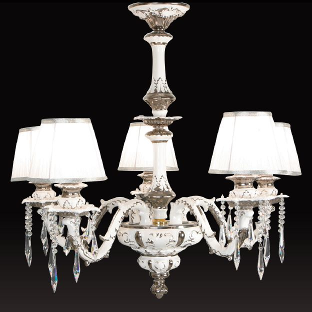 Luxurious large Italian ceramic chandelier with real platinum accents
