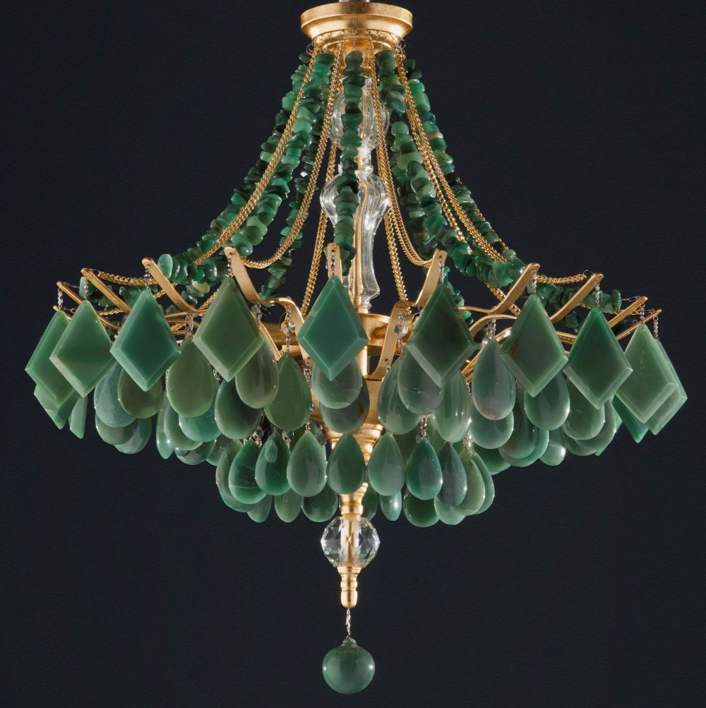 Agate & and crystal chandelier in five colours