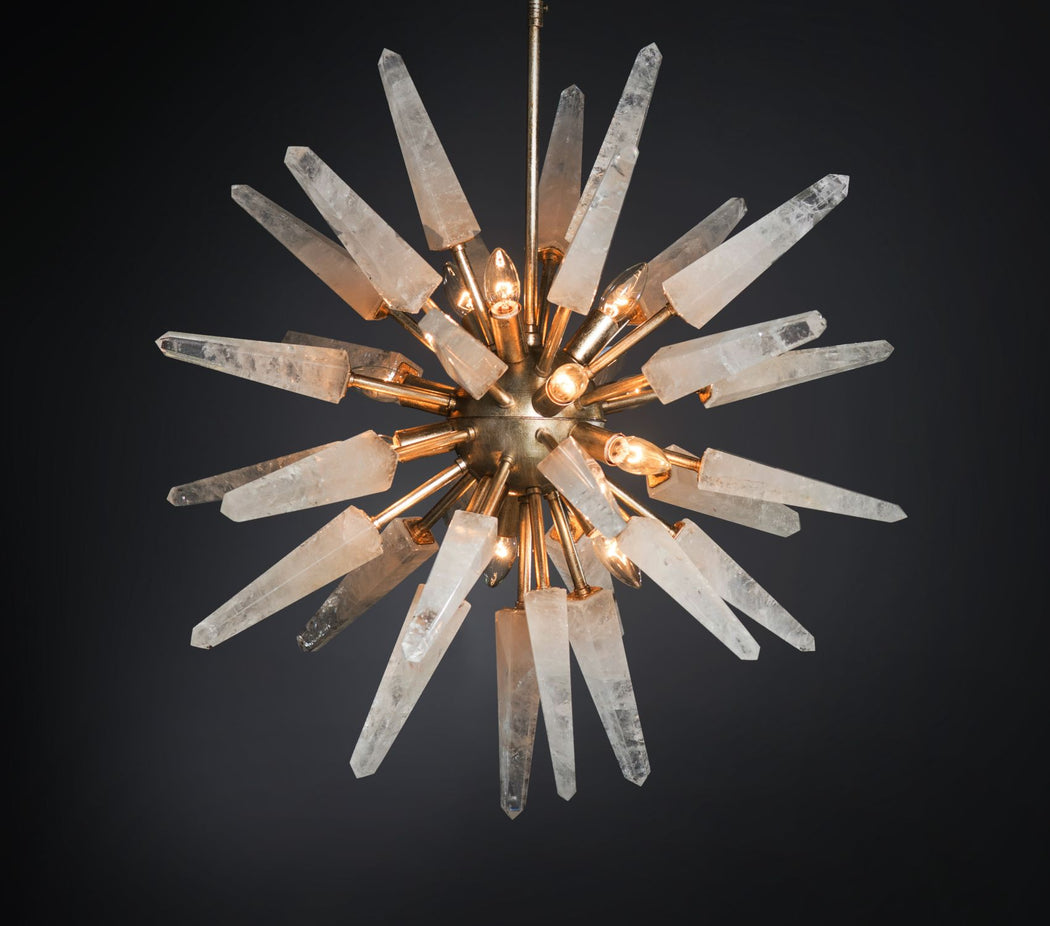 Customizable mid-century Sputnik-style  chandelier with rock crystal arms