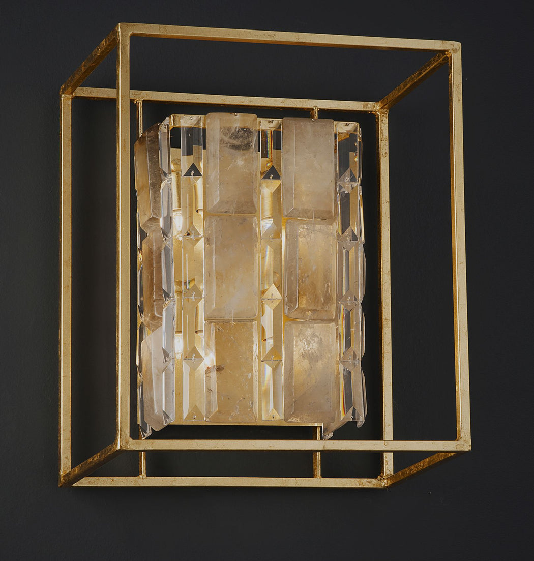 Modern industrial rock crystal wall light with custom metal finishes