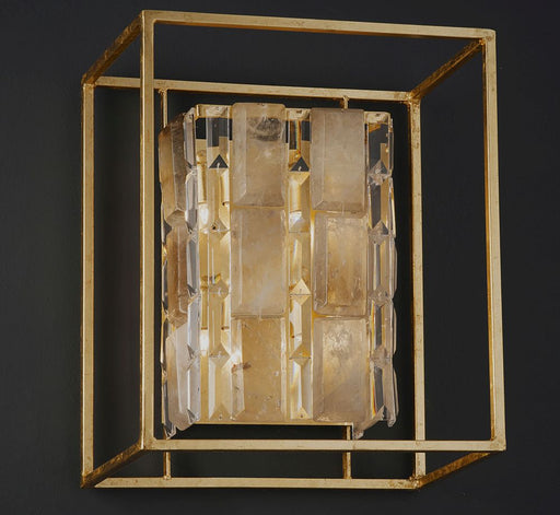 Modern industrial rock crystal wall light with custom options
