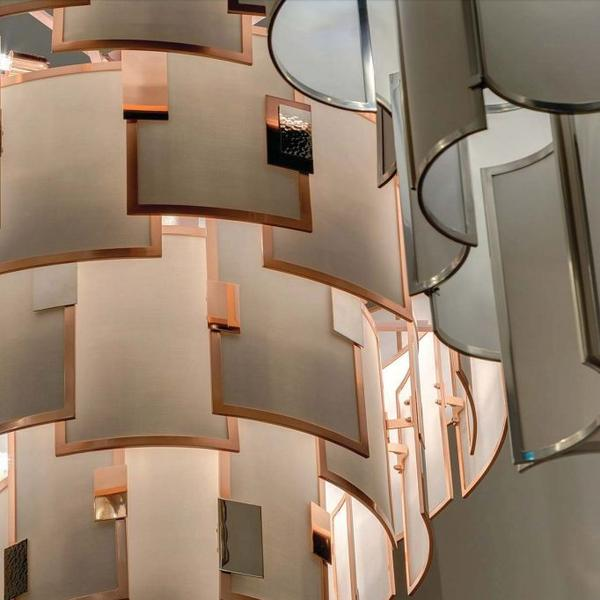 Modern high-end Italian chandelier with 42 lights, shade options, and frame options