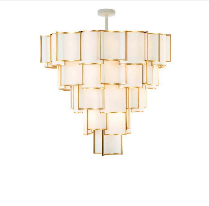 Super-stylish modernist-style chandelier with metal and shade options and 19 lights