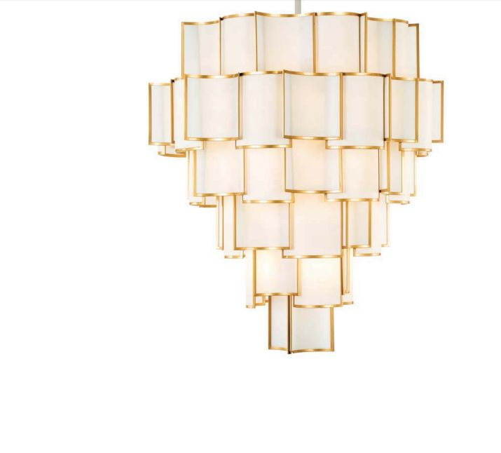 Stunning modernist-style chandelier with metal and shade options and 28 lights