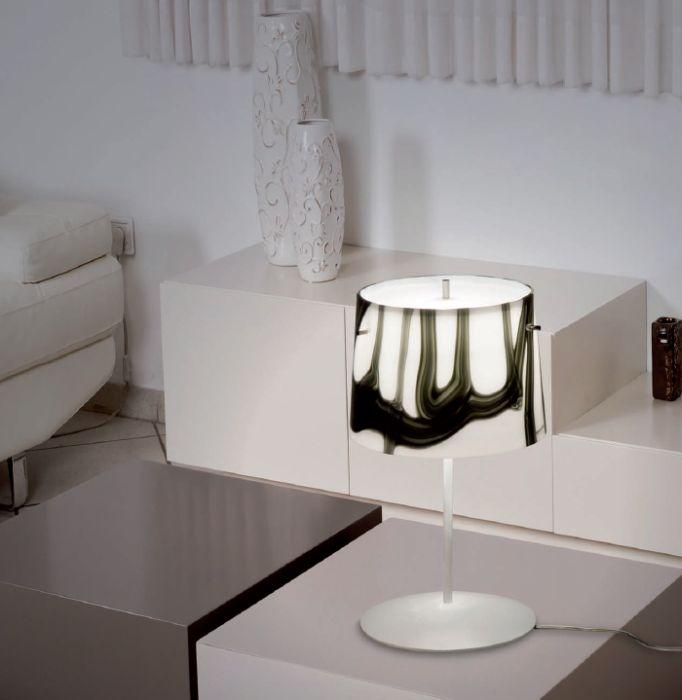 Handblown Murano glass table light with black and white design