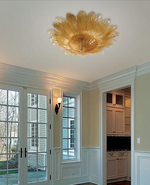 Amber or clear Murano flush ceiling light with classic leaf design in 3 sizes