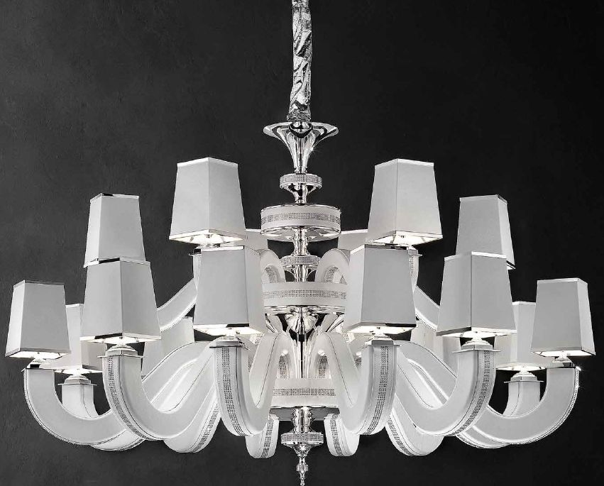 Modern 18 light chandelier with black, red, white, or tobacco color eco-leather finish