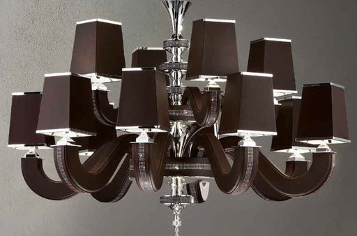 Modern 12 light Italian chandelier with black, red, white, or brown  eco-leather finish