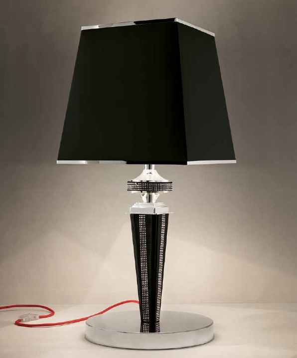Modern Italian table lamp with black, red, white, or tobacco coloured eco-leather finish