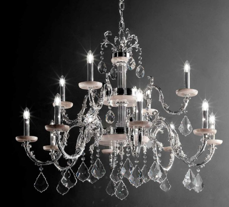Fine gold or silver Italian chandelier with green or pink marble candle cups