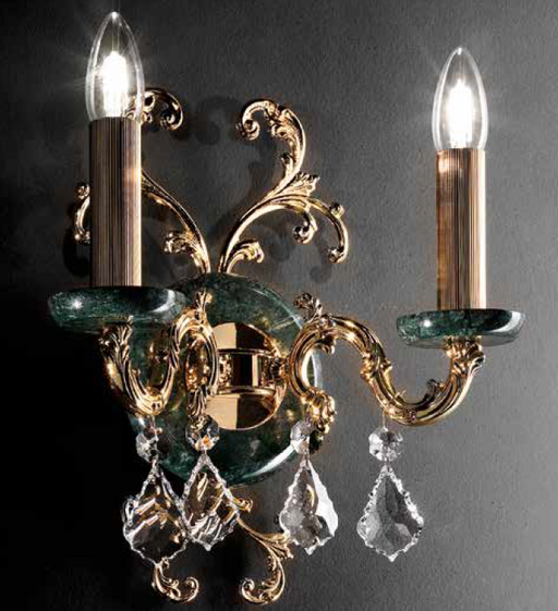 Fine gold or silver  Italian wall light with green or pink marble candle cups