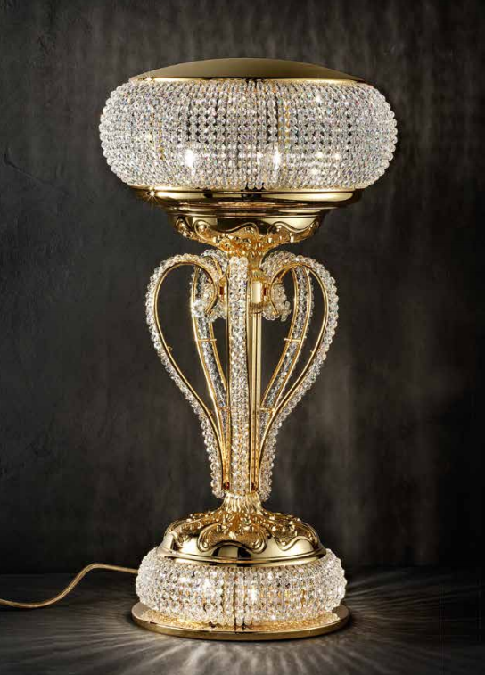 Glamorous classic gold-plated table lamp with glittering Swarovski crystals