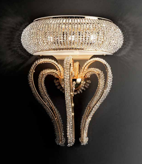 Glamorous classic silver-plated wall light with glittering Swarovski crystals