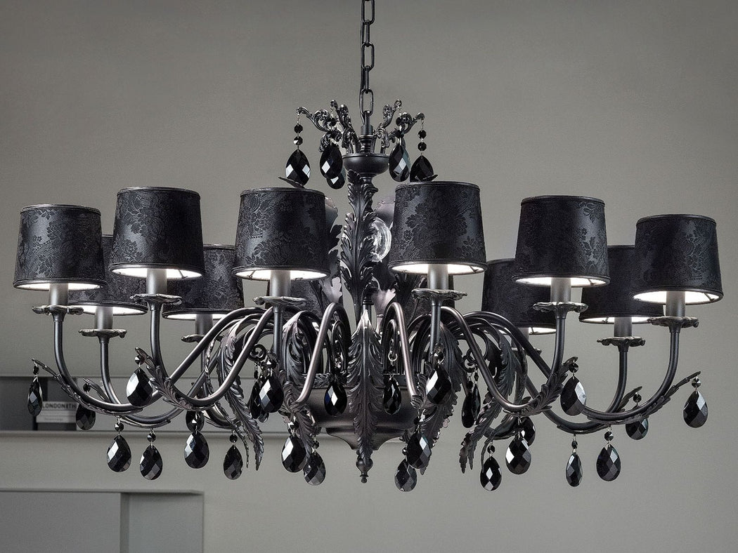 Elegant black or white leaf chandelier with 12 lights and cut glass pendants