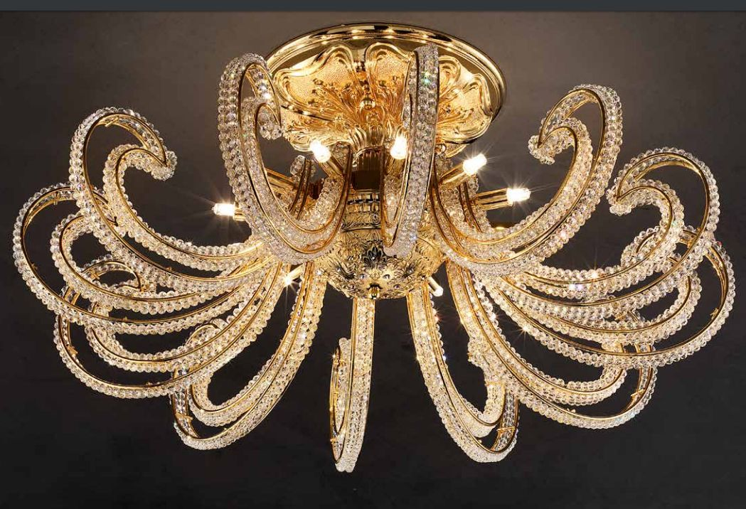 Glamorous classic silver-plated ceiling light with glittering Swarovski crystals