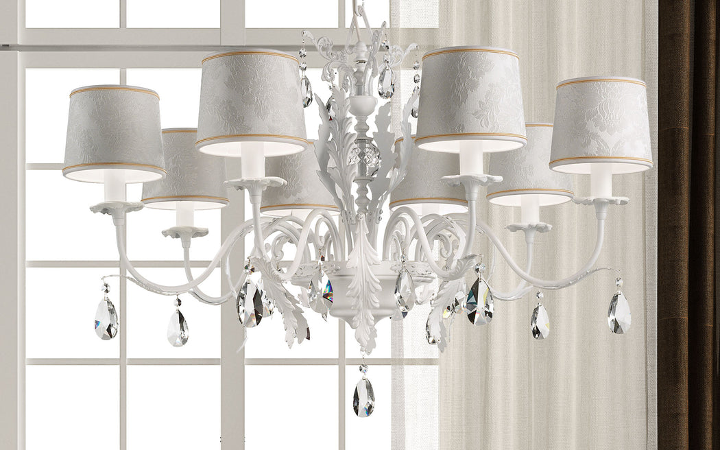 Stylish white or black leaf chandelier with Swarovski pendants and 8 lights