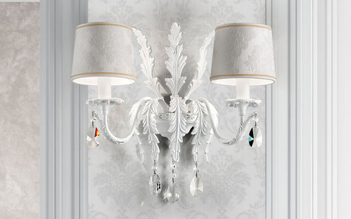 Elegant white or black  Italian wall light with Swarovski or cut crystal pendants