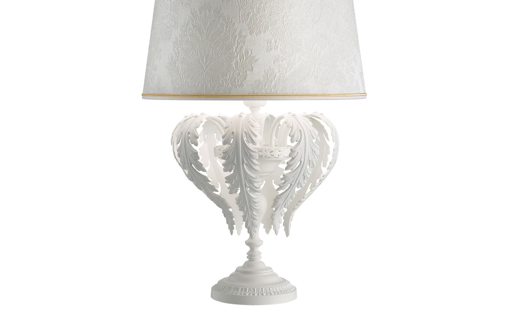 Classic black or white Italian table lamp with damask shade and crystal pendants