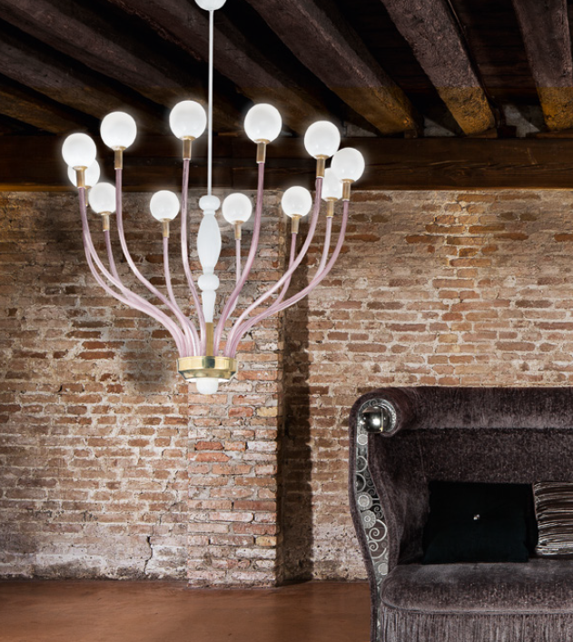 High-end Italian art deco-style chandelier with 12 lights