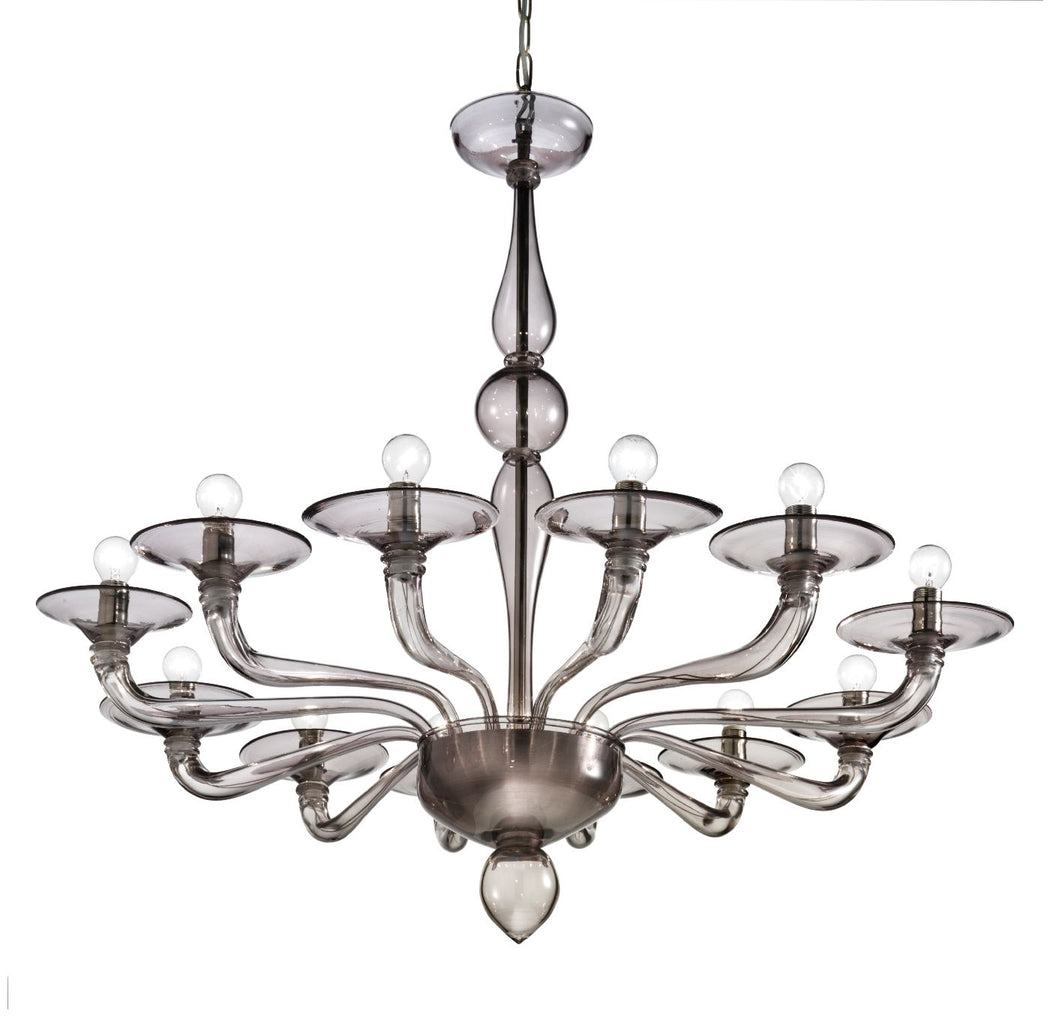 Fabulous modern hand-blown Venetian chandelier in grey smoke