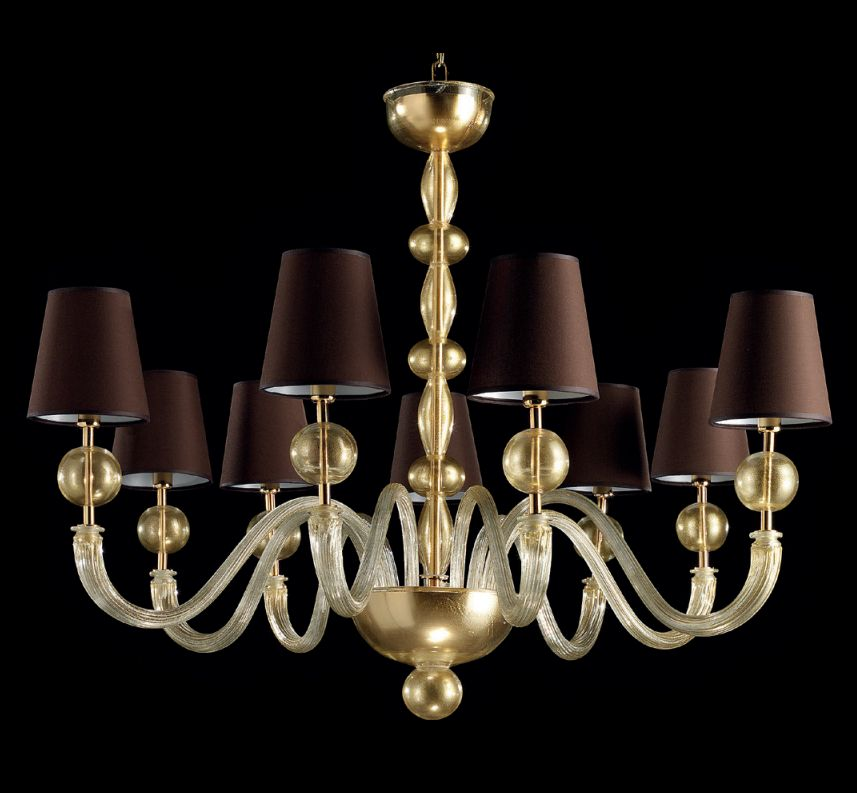 Large Murano glass statement chandelier with 24 carat gold-infused globes