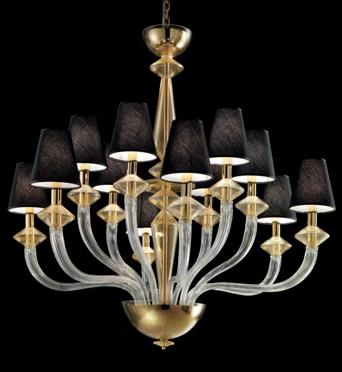Large  Murano chandelier with clear and gold glass and 12 shades