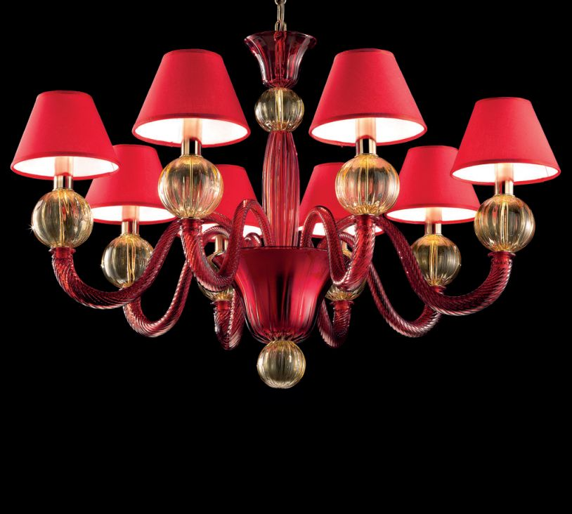 Hand-blown red and amber Venetian glass chandelier in three sizes