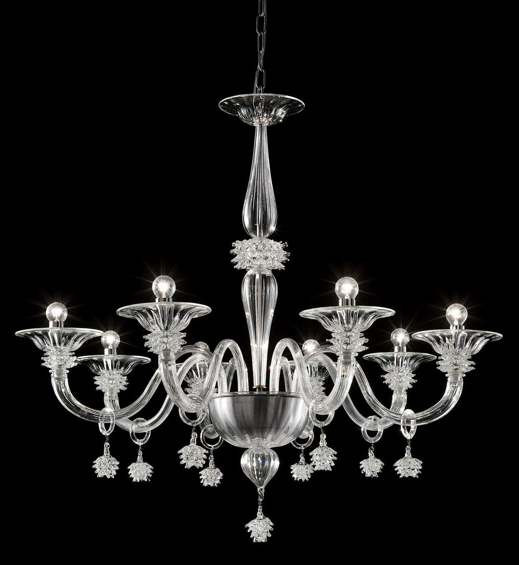 Eight light Murano glass chandelier with exquisite hand-crafted detail
