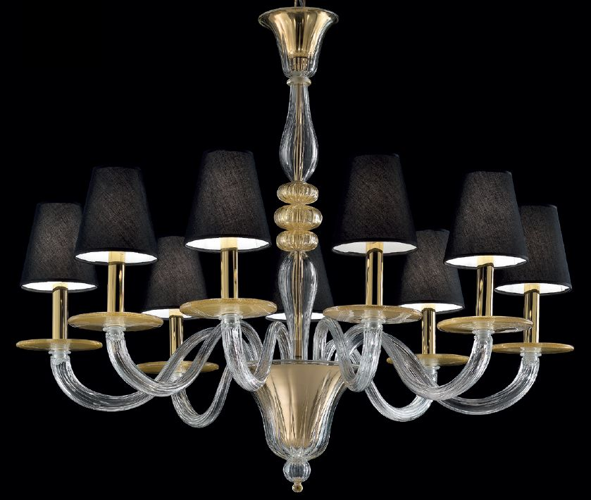 Elegant clear Venetian glass chandelier infused with flecks of gold