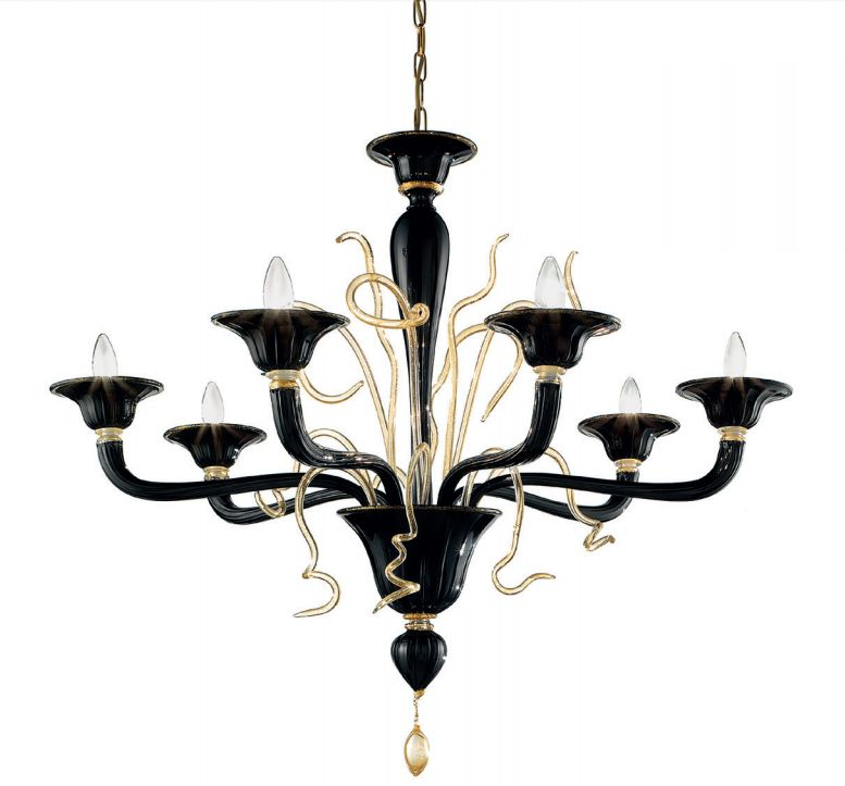 Unusual and quirky modern red or black Murano chandelier in 4 sizes