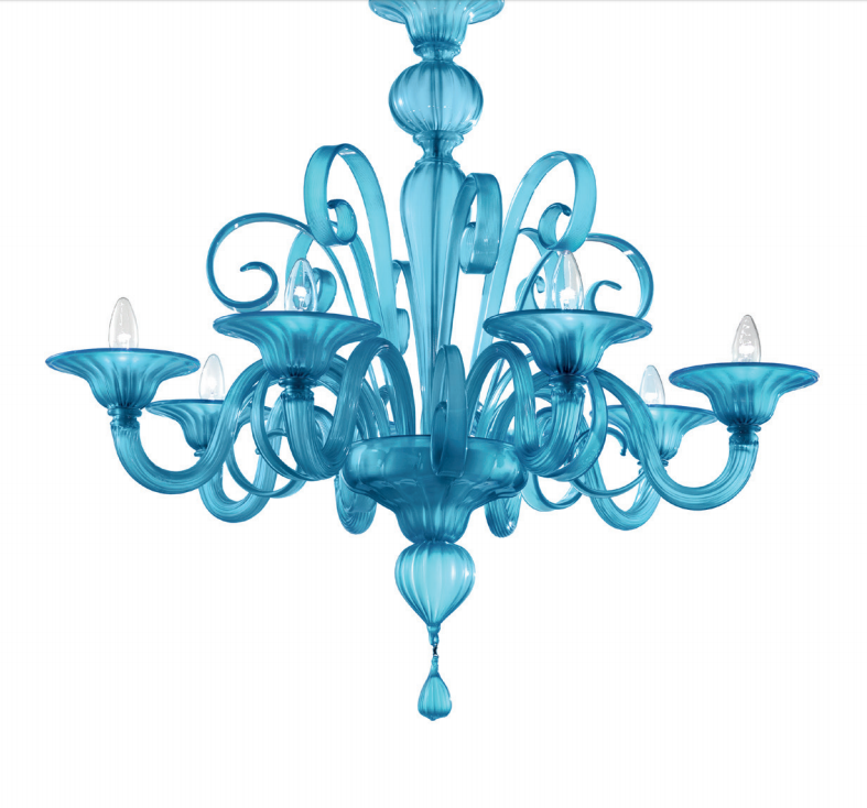 Stunning contemporary turquoise Murano glass chandelier  with custom options