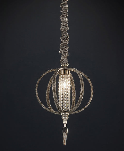 Elegant agate and crystal orb pendant light with crystal chains