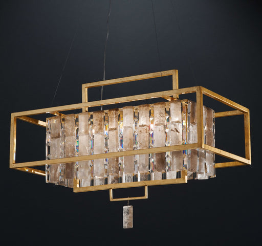 Modern industrial cage chandelier with rock crystal lozenges & bespoke metals