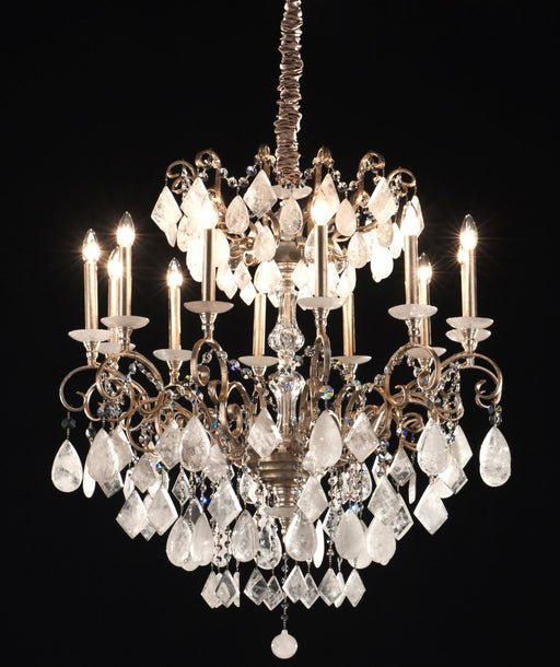 Beautiful modern bespoke chandelier with choice of  five quartz colours