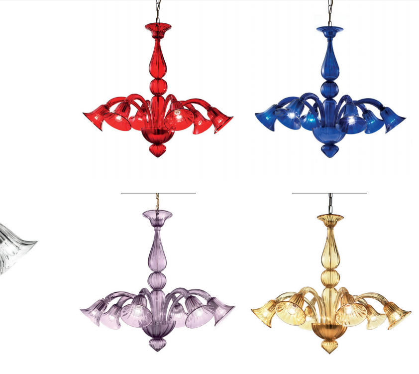 Contemporary small Murano glass chandelier with custom color options