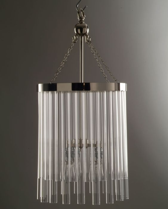 Bespoke silver ceiling light with glass tubes