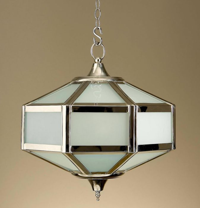 Classic frosted glass hanging lantern with custom finish