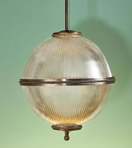Customizable modern industrial ribbed glass globe pendant