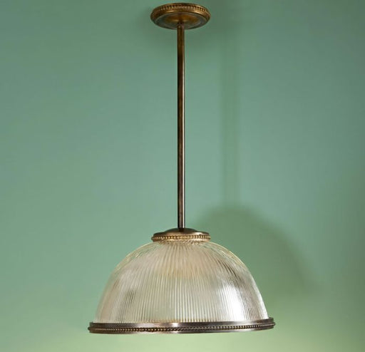Bespoke modern industrial ribbed glass dome pendant