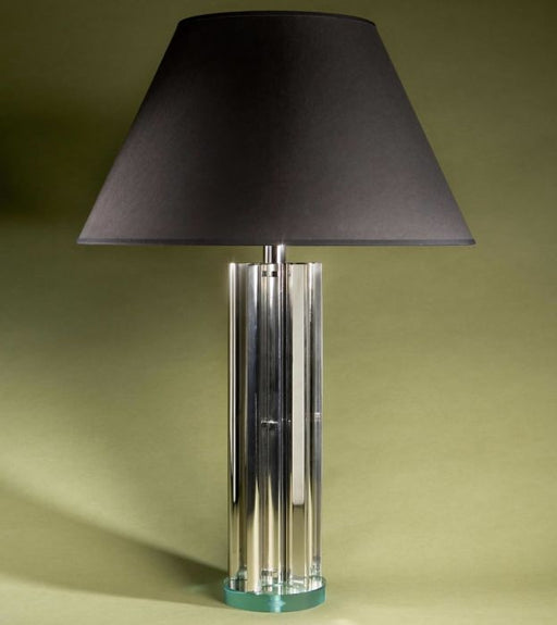 Understated contemporary metal and glass table lamp