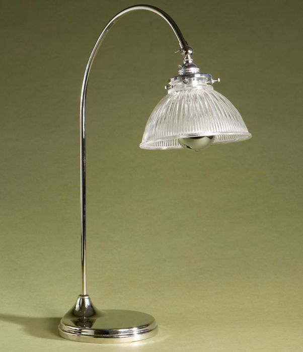 Industrial chic task lamp with ribbed glass shade
