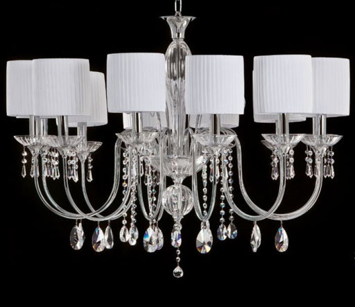 Long Italian dining table chandelier with crystal pendants and choice of finish
