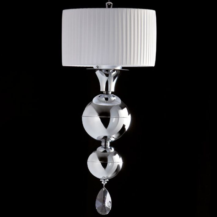 Modern chrome or gold Swarovski pendant light with custom finish options