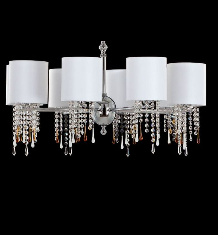 Modern chrome or gold chandelier with Venetian crystals & pendants